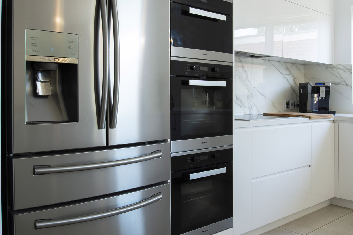 modern fridge in kitchen
