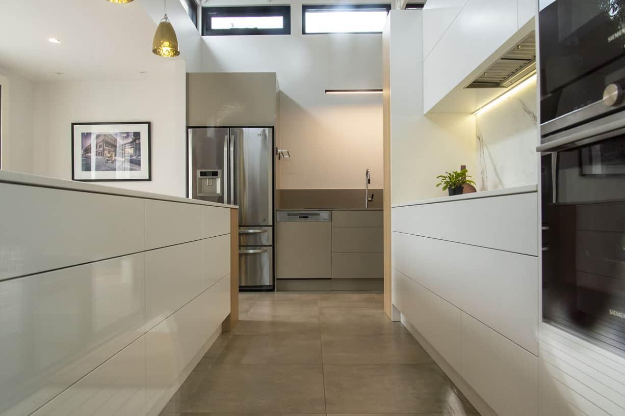 longshot of kitchen and tiled floor