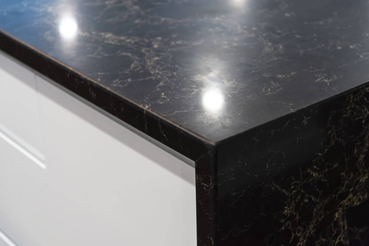 close up of black marble benchtop