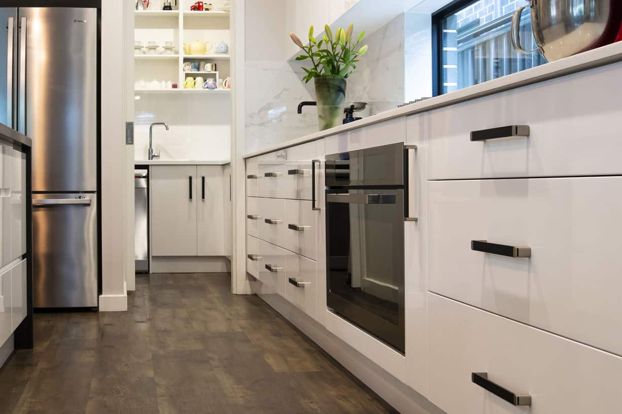 timber floor kitchen with dish washer